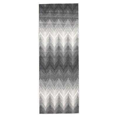 Crespo Ash/White Area Rug Rug Size: Runner 210 x 710