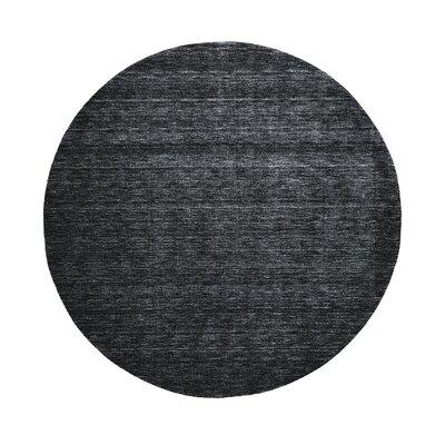 Samantha Hand-Woven Black Area Rug Rug Size: Round 8