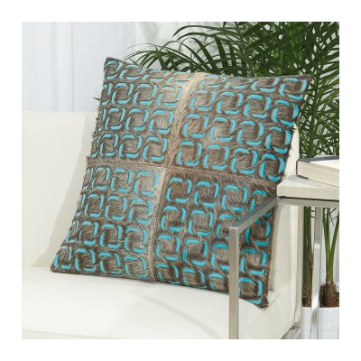 Fleta Laser Squares Leather Throw Pillow