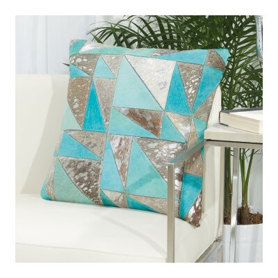 Fleta Triangles Leather Throw Pillow