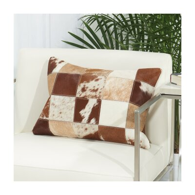 Hayes Animal Print Natural Hide Lumbar Pillow Color: Tan / White
