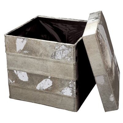 Bianca Leather Ottoman Color: Silver/Gray