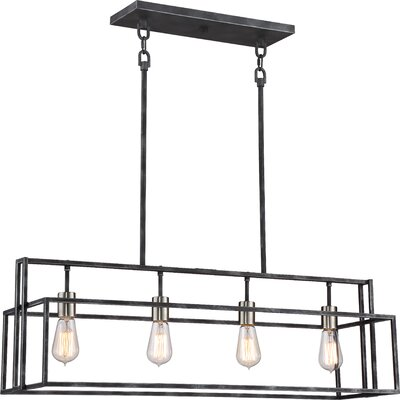 Jefferson 4-Light Kitchen Island Pendant Finish: Iron Black/Brushed Nickel