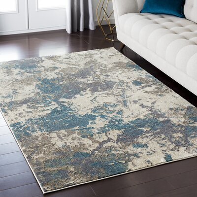 Camillei Blue/Brown Area Rug Rug Size: Rectangle 53 x 73