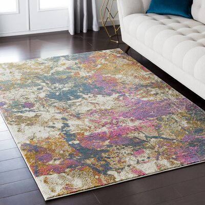 Camillei Orange/Gray Area Rug Rug Size: Rectangle 53 x 73
