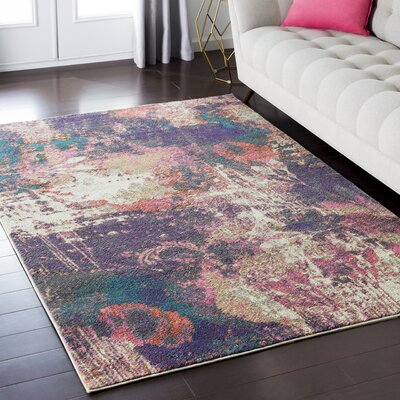 Camillei Purple/Brown Area Rug Rug Size: Rectangle 53 x 73