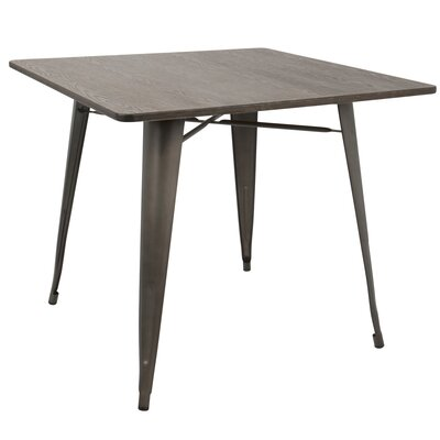 Ashberry Dining Table Base Finish: Antiqued Metal, Top Finish: Espresso Bamboo