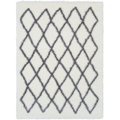 Kolton White/Medium Gray Area Rug Rug Size: 53 x 73