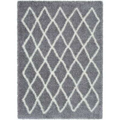 Kolton Medium Gray/White Area Rug Rug Size: Rectangle 53 x 73
