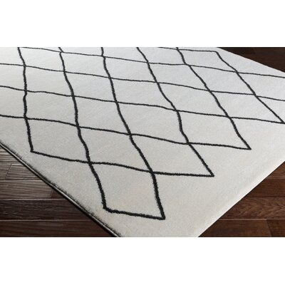 Kelvin Cream/Black Area Rug Rug Size: 53 x 76