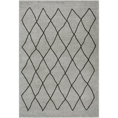 Kelvin Medium Gray/Black Area Rug Rug Size: 53 x 76