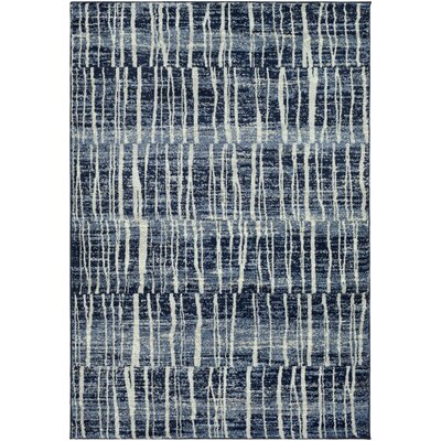 Roland Dark Blue/Bright Blue Area Rug Rug Size: 53 x 76