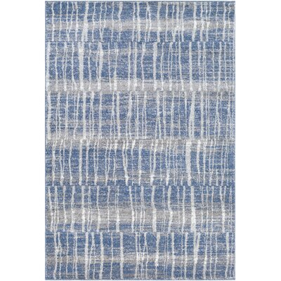 Roland Bright Blue/Medium Gray Area Rug Rug Size: 710 x 1010