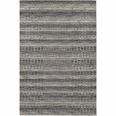 Alysa Hand-Loomed Light Gray/Navy Area Rug Rug Size: 8 x 10