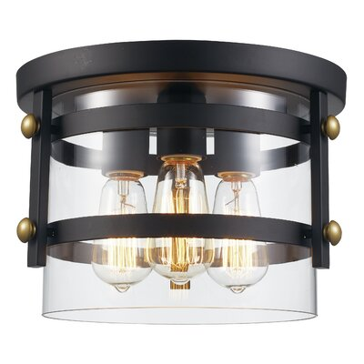Daniel 3-Light Flush Mount Finish: Oil Rubbed Bronze/Antique Gold