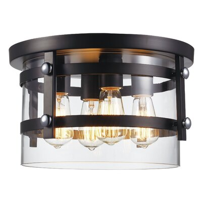 Daniel 4-Light Flush Mount Finish: Black/Polished Chrome