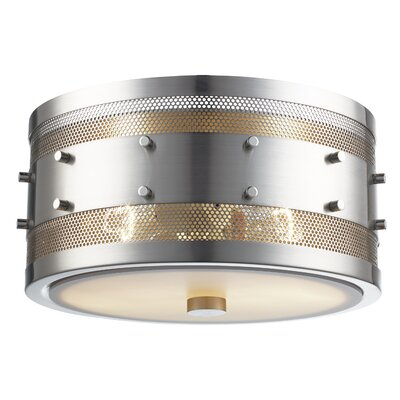 Denver 2-Light Flush Mount Finish: Brushed Nickel, Size: 5.5 H x 11 W x 11 D