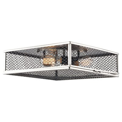 Dorian 3-Light Flush Mount Fixture Finish: Brushed Nickel/Black, Size: 5.25 H x 16 W x 16 D