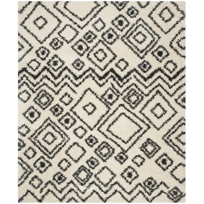 Malibu Ivory / Charcoal Area Rug Rug Size: Rectangle 2-3 X 11