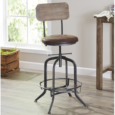 Siyeh Adjustable Height Bar Stool with Cushion