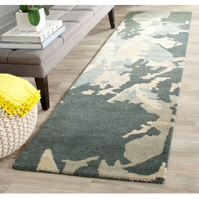 Adan Steel Blue Area Rug Rug Size: Runner 23 x 6