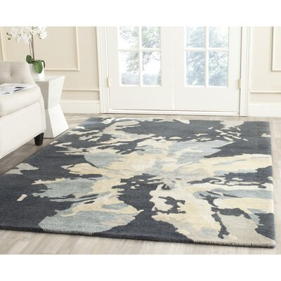 Adan Steel Blue Area Rug Rug Size: Square 6