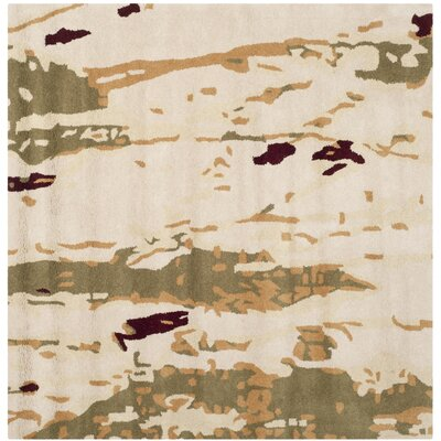 Marina Beige/Green Area Rug Rug Size: Square 5