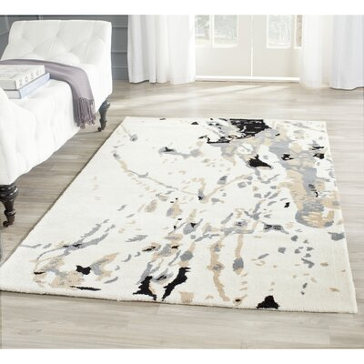 Adan Hand-Tufted Wool Ivory/Gray Area Rug Rug Size: Rectangle 8 x 10