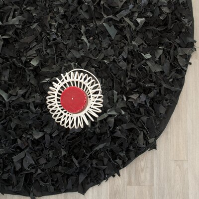 Norma Black Area Rug I Rug Size: Round 4