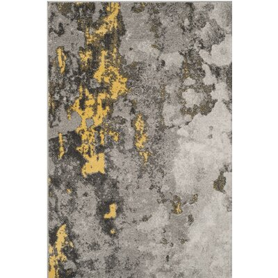 Costa Mesa Gray/Yellow Area Rug Rug Size: Round 6