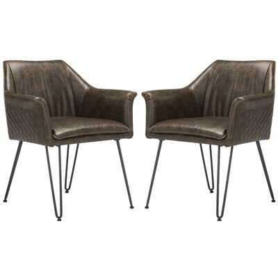 Greenwood Dining Arm Chair Upholstery: Dark Brown