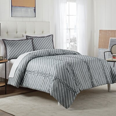 Domini 3 Piece Reversible Comforter Set Color: Gray, Size: King