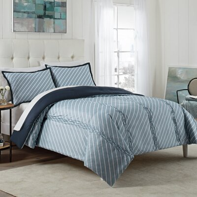 Domini 3 Piece Reversible Comforter Set Color: Blue, Size: King