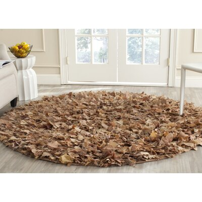 Carrol Hand-Tufted Brown Area Rug Rug Size: Round 6