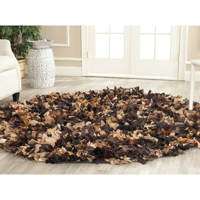 Carrol Solid Brown Area Rug Rug Size: Round 6
