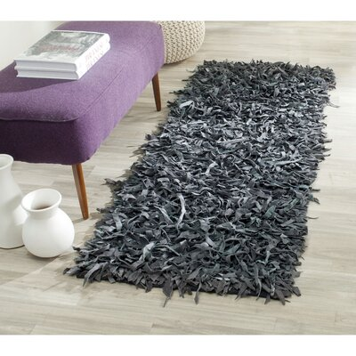 Norma Leather Shag Grey Rug Rug Size: 23 x 4