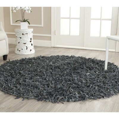 Carrol Leather Shag Grey Rug Rug Size: Round 4