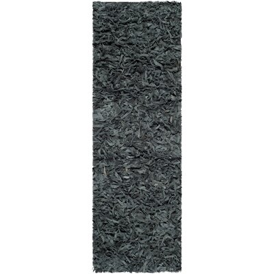 Carrol Leather Shag Grey Rug Rug Size: Runner 23 x 9