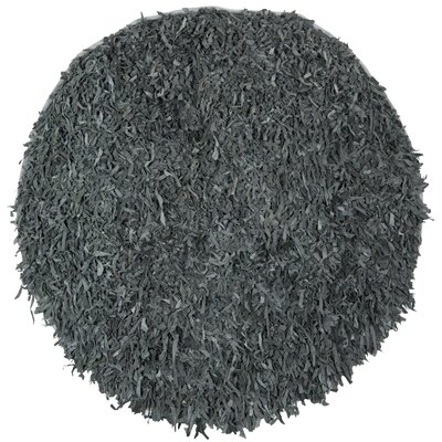 Carrol Leather Shag Grey Rug Rug Size: Round 4'