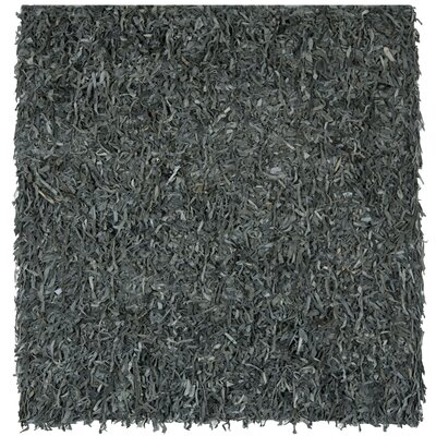 Carrol Leather Shag Grey Rug Rug Size: Square 8