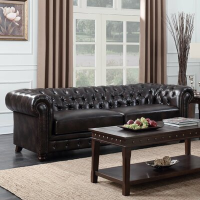 Caine Chesterfield Sofa Color: Dark Brown