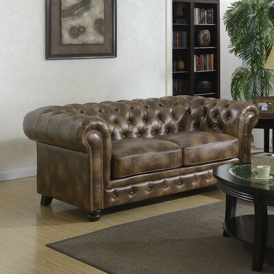 Caine Chesterfield Loveseat Upholstery: Brown
