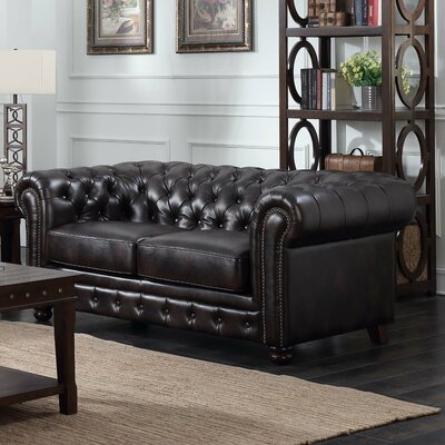 Caine Chesterfield Loveseat Upholstery: Dark Brown