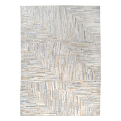 Garrison Leather Patchwork Hand Stitched Pearl/Gray Area Rug Rug Size: 9 x 12