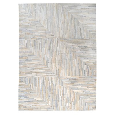 Garrison Leather Patchwork Hand Stitched Pearl/Gray Area Rug Rug Size: 3 x 5