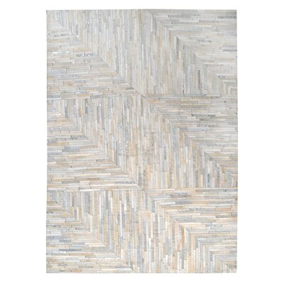 Garrison Leather Patchwork Hand Stitched Pearl/Gray Area Rug Rug Size: Rectangle 8 x 10