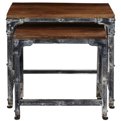 Tahoe Distressed Wood and Metal 2 Piece Nesting Tables