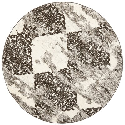 Twentynine Palms Retro Beige/Light Grey Rug Rug Size: Round 6