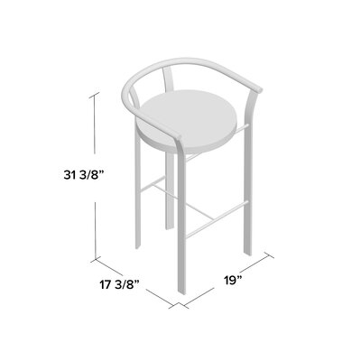 Crissom 26.5 Bar Stool Upholstery: Medium Dark Gray, Base Finish: Semi-Transparent