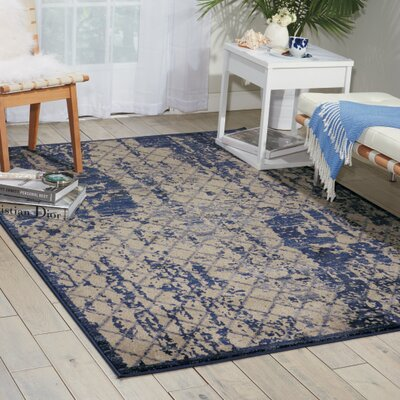 Casiodoro Ivory/Navy Area Rug Rug Size: Rectangle 53 x 74